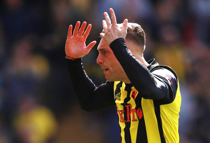 """Soccer Football - Premier League - Watford v West Ham United - Vicarage Road, Watford, Britain - May 12, 2019  Watford's Gerard Deulofeu celebrates scoring their first goal  REUTERS/Ian Walton  EDITORIAL USE ONLY. No use with unauthorized audio, video, data, fixture lists, club/league logos or """"live"""" services. Online in-match use limited to 75 images, no video emulation. No use in betting, games or single club/league/player publications.  Please contact your account representative for further details."""
