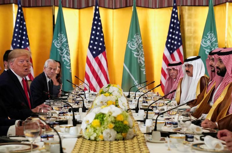 U.S. President Donald Trump speaks during a working breakfast meeting with Saudi Arabia's Crown Prince Mohammed bin Salman during the G20 leaders summit in Osaka, Japan, June 29, 2019. REUTERS/Kevin Lamarque