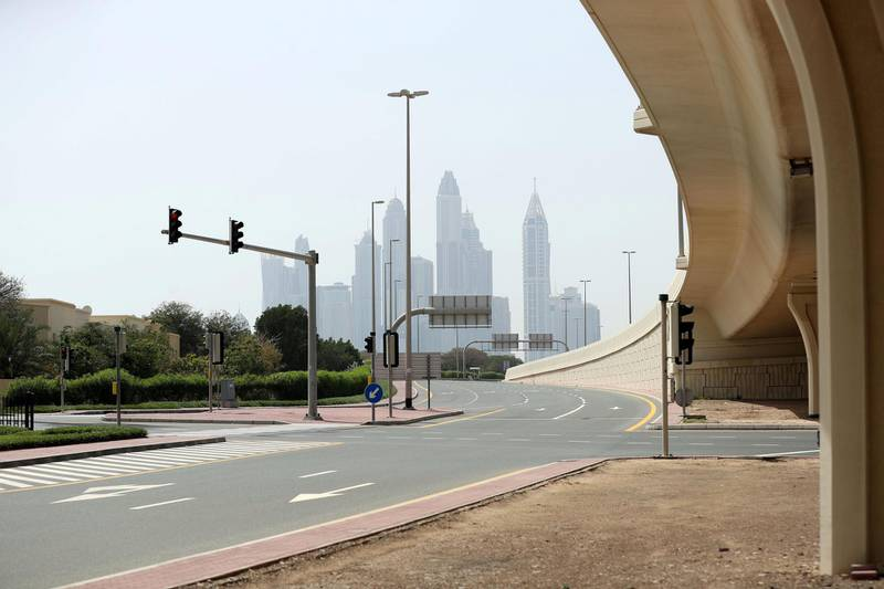 Dubai, United Arab Emirates - Reporter: N/A: Empty roads outside Dubai International academy school as the country goes into lockdown for 2 weeks due to the corona virus. Wednesday, April 8th, 2020. Dubai. Chris Whiteoak / The National