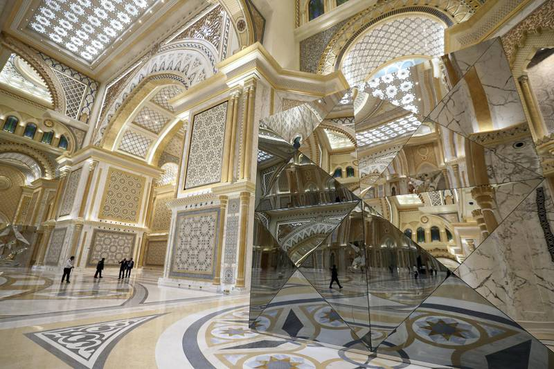 Abu Dhabi, United Arab Emirates - March 11, 2019: The Great hall. Exclusive preview and guided tour of Qasr Al Watan, the UAEÕs new cultural landmark. Monday the 11th of March 2019 at Qasr Al Watan, Abu Dhabi. Chris Whiteoak / The National