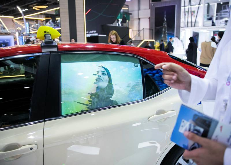 DUBAI, UNITED ARAB EMIRATES. 06 OCTOBER 2019. The Roads and Transport Authority (RTA) is trialling the display of smart ads on taxis. Officials say the high-definition content will be visible to all road users but it won't cause any inconvenience to passengers. It's one of several new technologies being showcased at GITEX at Dubai World Trade Center.(Photo: Reem Mohammed/The National)Reporter:Section: