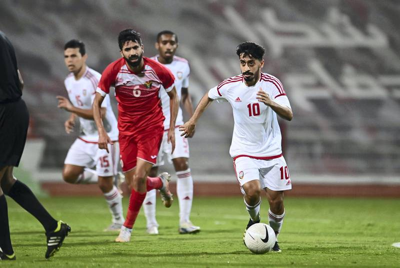Dubai / Monday May 24, 2021: Our first national football team defeated its Jordanian counterpart by five goals to one goal in the international friendly match that took place today at Rashid Stadium at Al-Ahly Youth Club in Dubai in the final rehearsal for Al-Abyad in preparation for the joint Asian qualifiers for the 2022 World Cup Finals and Cup Finals Asia 2023, which will be held in the country from the third of next June. Courtesy UAE FA