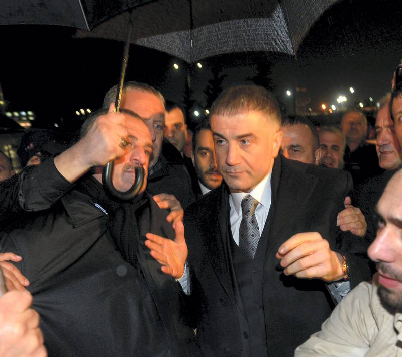 ISTANBUL, TURKEY - MARCH 11:  Prominent detainee (alleged mafia leader with links to the 'deep state') Sedat Peker in the Ergenekon coup plot case released from Silivri Prison in Istanbul following the 8th and the 21th High Criminal Courts order in Istanbul, Turkey on March 10, 2014. (Photo by Islam Yakut/Anadolu Agency/Getty Images)