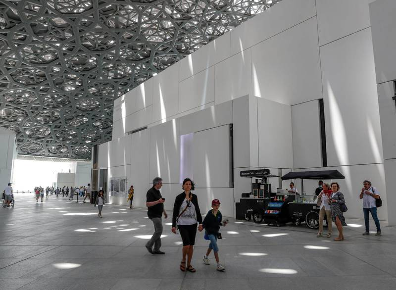 Abu Dhabi, April 23, 2019.    Photographs 1842-1896:  An early album of the world at Louvre Abu Dhabi. --  Visitors at the Louvre.Victor Besa/The National Section:  Arts & LifeReporter:  Melissa Gronlund