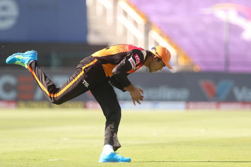 Priyam Garg of Sunrisers Hyderabad  takes a catch of Nitish Rana of Kolkata Knight Riders during match 35 of season 13 of the Dream 11 Indian Premier League (IPL) between the Sunrisers Hyderabad and the Kolkata Knight Riders at the Sheikh Zayed Stadium, Abu Dhabi  in the United Arab Emirates on the 18th October 2020.  Photo by: Vipin Pawar  / Sportzpics for BCCI