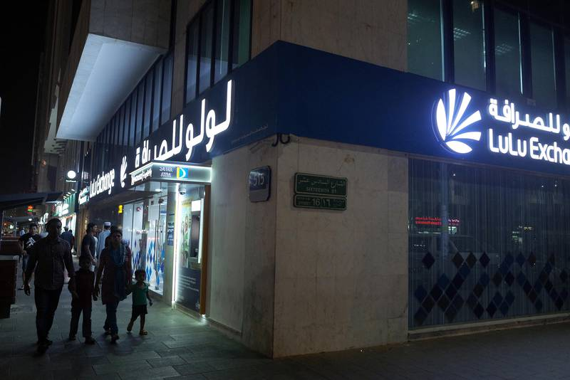 ABU DHABI, UNITED ARAB EMIRATES - - -  June 25, 2016 --- A Lulu Exchange on Saturday, June 25, 2016, in Abu Dhabi. As a result of the recent vote for the UK to exit the EU, money exchanges may start to get busy with expats as a result of the fluctuation in the exchange rates.   ( DELORES JOHNSON / The National )   ID: 12345 Reporter:  None Section: NA *** Local Caption ***  DJ-250616-NA-Money Exchanges-12345-015.jpg