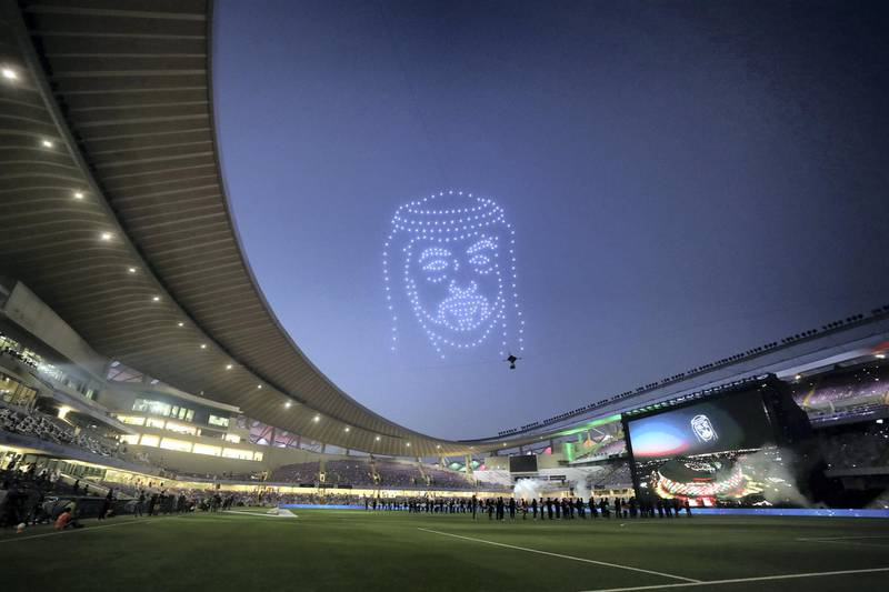 Drones light up the sky with the face of Sheikh Khalifa before the game between Shabab Al Ahli and Al Nasr in the PresidentÕs Cup final in Al Ain on May 16th, 2021. Chris Whiteoak / The National.  Reporter: John McAuley for Sport