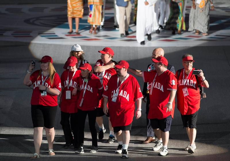 ABU DHABI, UNITED ARAB EMIRATES - March 17, 2018: Athletes participate in a parade during the opening ceremony of the Special Olympics IX MENA Games Abu Dhabi 2018, at the Abu Dhabi National Exhibition Centre (ADNEC).( Hamad Al Mansouri for Crown Prince Court - Abu Dhabi )—