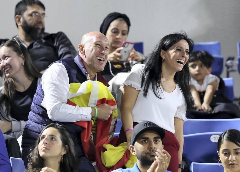 Abu Dhabi, United Arab Emirates - Reporter: Jon Turner: Fans watch the final between Rafael Nadal v Stefanos Tsitsipas at the Mubadala World Tennis Championship. Saturday, December 21st, 2019. Zayed Sports City, Abu Dhabi. Chris Whiteoak / The National