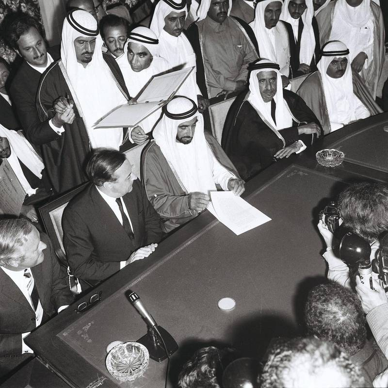 """History Project 2010, """"The First Day"""". The signing and speech at Union House, Dubai. December 2, 1971. Credit Ittihad Newspaper **EDS NOTE ***IMPORTANT** SEEK ADVISE FROM KAREN BEFORE USE"""