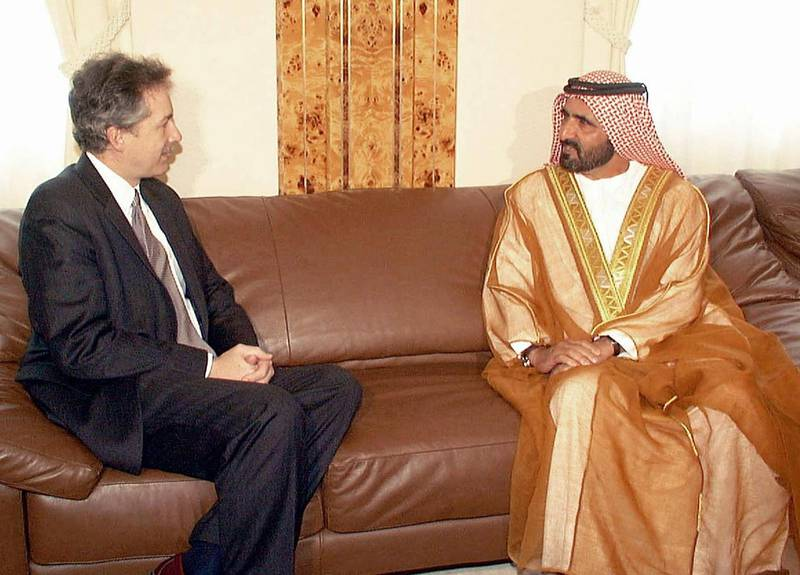 Emirati Defence Minister Mohammad bin Rashed al-Maktoum (R) meets with US Assistant Secretary of State for Near Eastern Affairs William Burns in Dubai 15 January 2002. Burns launched his Middle east tour in Kuwait and Qatar a few days ago concentrating on the war on terrorism, Iraq and the Mideast peace process.  AFP PHOTO/HO (Photo by WAM / AFP)