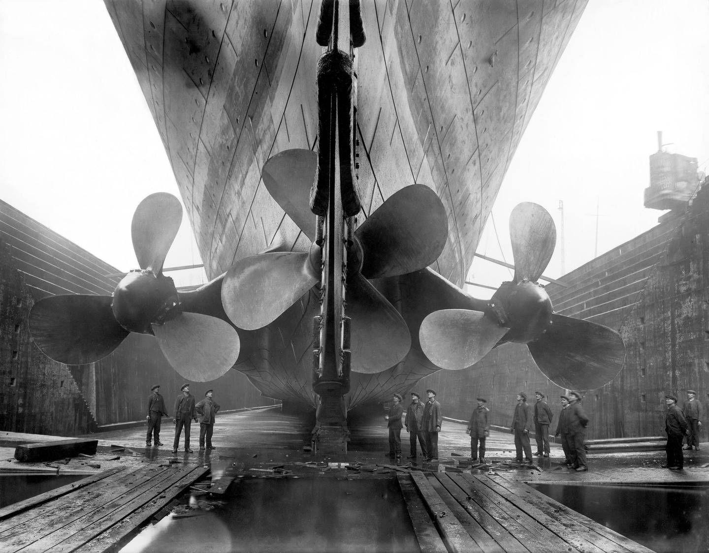 Titanic in dry dock, 1911. Getty Images
