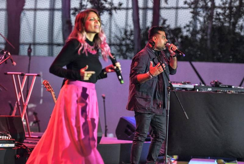 Abu Dhabi, United Arab Emirates - Shor Police, Indian pop duo Bianca Gomes and Clinton Cerejo blend Bollywood music with international pop originals at the opening night of Berklee, Abu Dhabi, Al Saadiyat. Khushnum Bhandari for The National