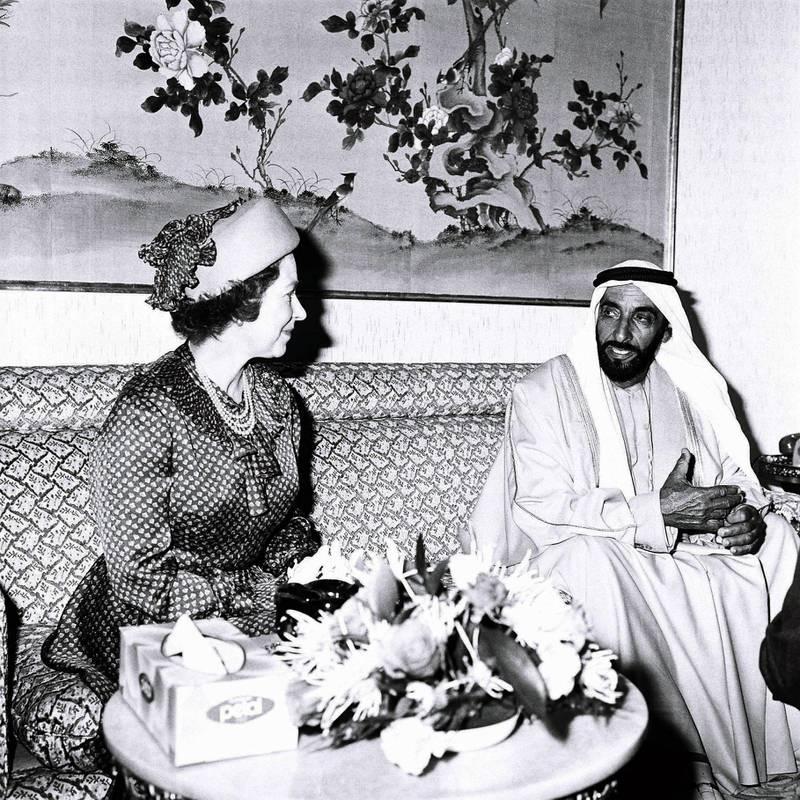 An image from the Itihad archive. Courtesy Al Itihad. Abu Dhabi, UAE. 1979. Queen Elizabeth II visit to UAE.