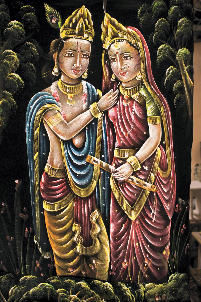 While relying on Bani Thani paintings isn't a viable option, the artists have started adopting different types of painting styles. This is a velvet painting. Courtesy: Sanket Jain