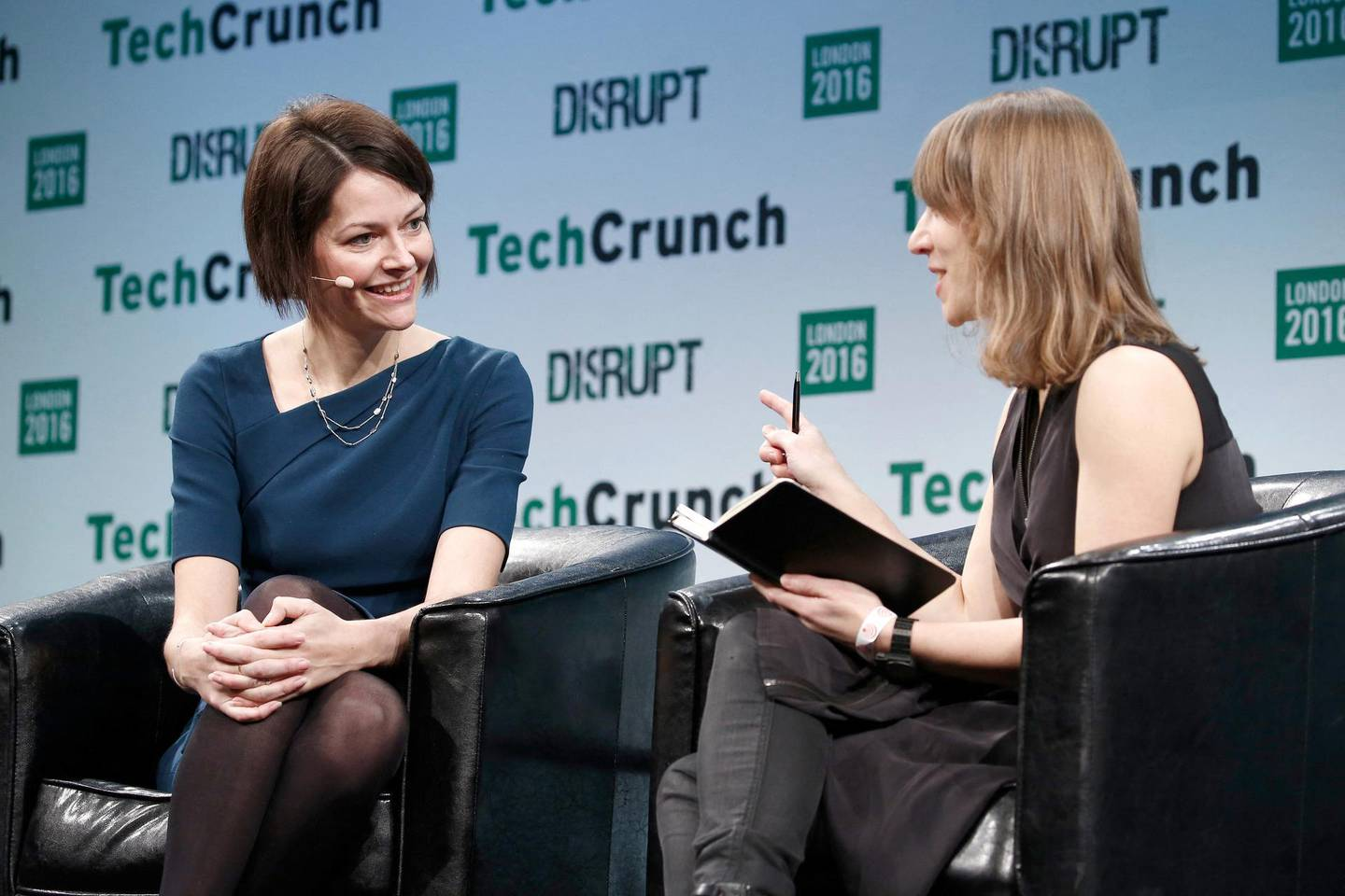 LONDON, ENGLAND - DECEMBER 05: Co-Founder and CEO of Darktrace Poppy Gustafsson (L) attends a Q&A with TechCrunch Moderator Natasha Lomas (R) during day 1 of TechCrunch Disrupt London at the Copper Box on December 5, 2016 in London, England.   John Phillips/Getty Images for TechCrunch/AFP (Photo by John Phillips / GETTY IMAGES NORTH AMERICA / Getty Images via AFP)
