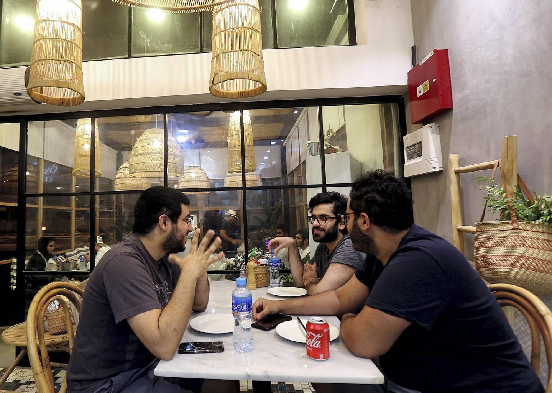 Dubai, June, 03, 2018: Samir Al Abdulla, Saeed Arjumand and Ahmed Al Zarooni at a restaurant  in Dubai. Satish Kumar for the National / Story by Nawal