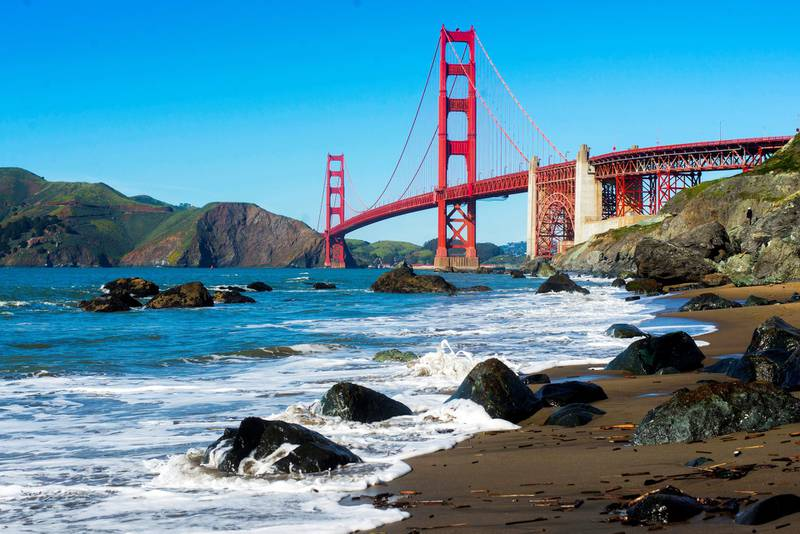 SAN FRANSISCO, CA - MARCH 3: A general view of the Golden Gate Bridge seen from Marshall's Beach on March 3, 2017 in San Fransisco, CA. (Photo by Matthew Baker/Getty Images)