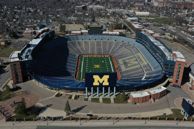 ANN ARBOR MICHIGAN - MARCH 15: Aerial general view from a drone of of Michigan Stadium on March 15, 2020 in Ann Arbor, Michigan.   Gregory Shamus/Getty Images/AFP