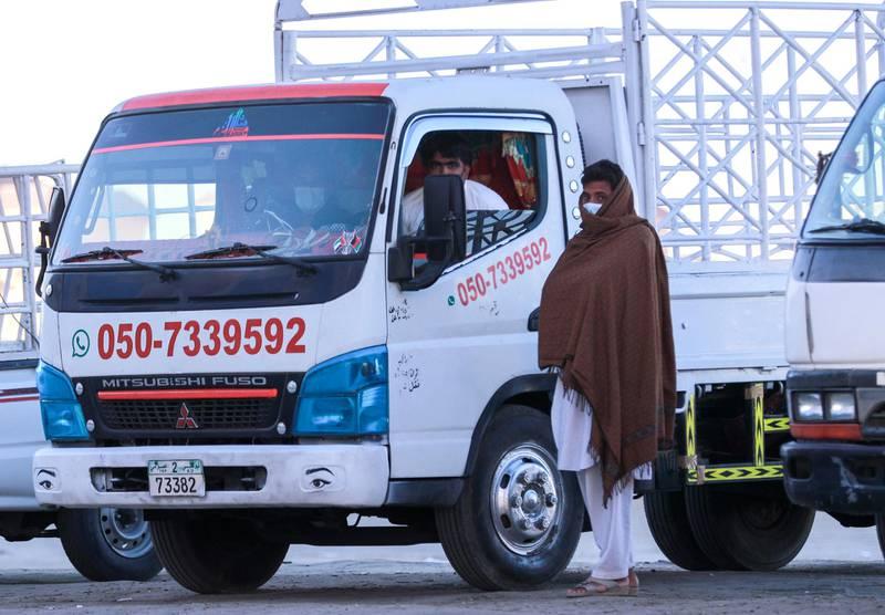 Abu Dhabi, United Arab Emirates, January 10, 2021.  Movers on a cold Sunday morning at Khalifa City.Victor Besa/The NationalSection:  NA/WeatherReporter: