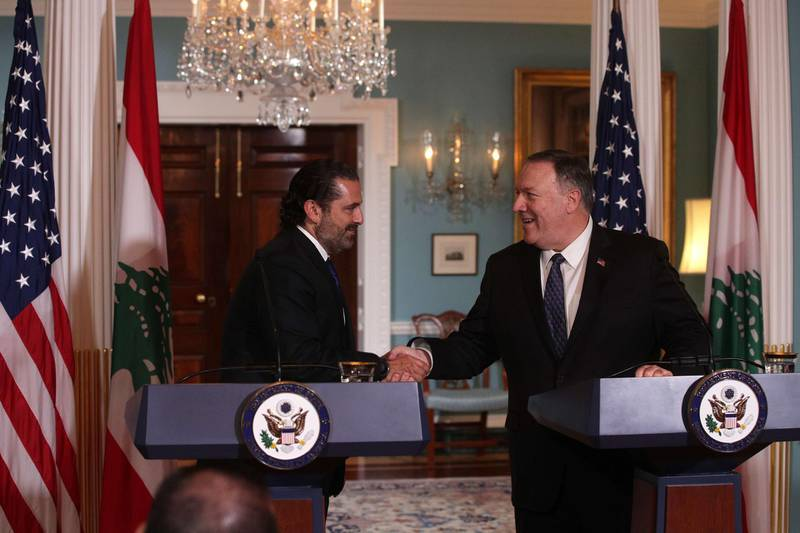 WASHINGTON, DC - AUGUST 15: U.S. Secretary of State Mike Pompeo shakes hands with Lebanese Prime Minister Saad Hariri after they spoke to members of the media at the State Department August 15, 2019 in Washington, DC. Prime Minister Hariri had a meeting with Secretary Pompeo prior to the remarks and it is his third visit to Washington as Lebanons Prime Minister.   Alex Wong/Getty Images/AFP == FOR NEWSPAPERS, INTERNET, TELCOS & TELEVISION USE ONLY ==