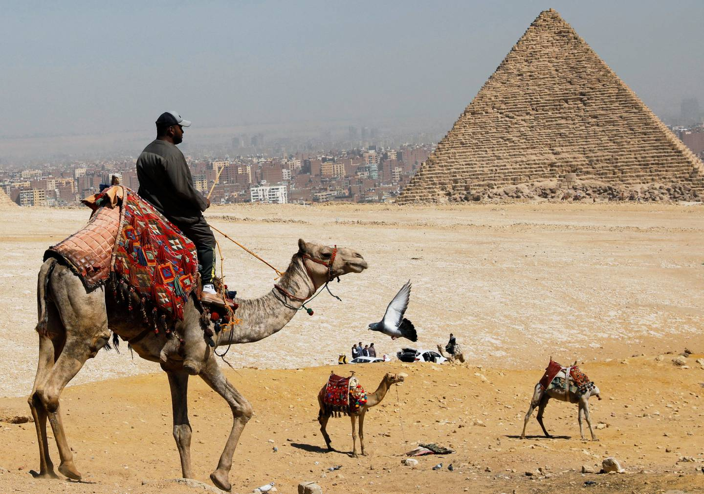 A man waits for tourists to rent his camels in front of the Great Pyramids of Giza, on the outskirts of Cairo, Egypt March 8, 2020. REUTERS/Mohamed Abd El Ghany