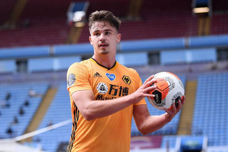 BIRMINGHAM, ENGLAND - JUNE 27: Leander Dendoncker of Wolverhampton Wanderers prepares to take a throw in during the Premier League match between Aston Villa and Wolverhampton Wanderers at Villa Park on June 27, 2020 in Birmingham, England. (Photo by Laurence Griffiths/Getty Images)