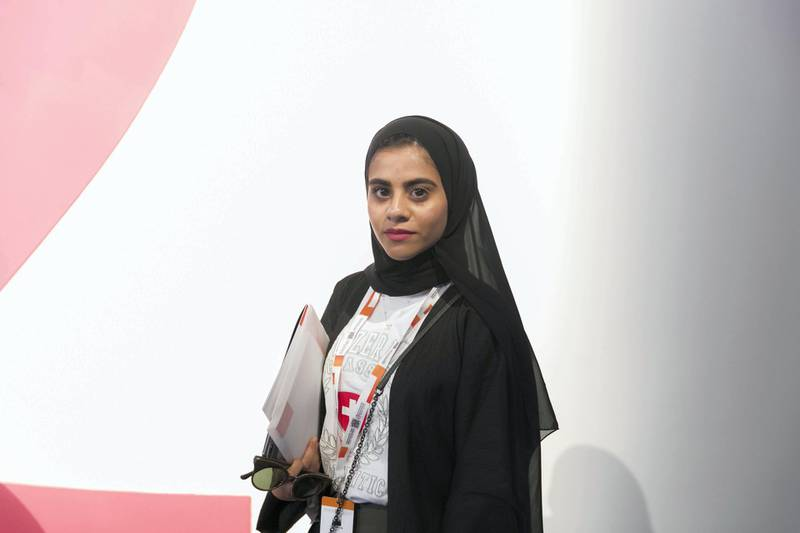 ABU DHABI, UNITED ARAB EMIRATES - OCTOBER 08, 2018.   Mariam Al Shaloubi, 19, UAE University, at Mohammed Bin Zayed Council for Future Generations sessions, held at ADNEC.  (Photo by Reem Mohammed/The National)  Reporter: SHIREENA AL NUWAIS + ANAM RIZVI Section:  NA