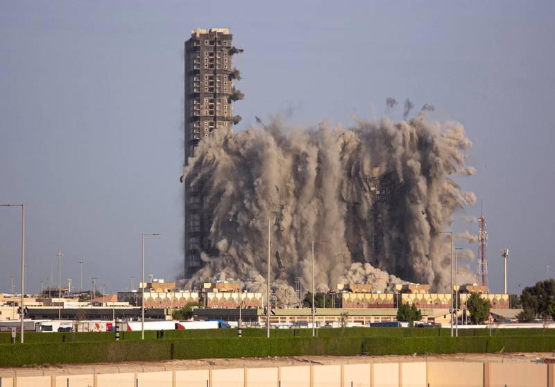 Mina Zayed Plaza demolition Friday morning, Abu Dhabi. Charlotte Mayhew / The National