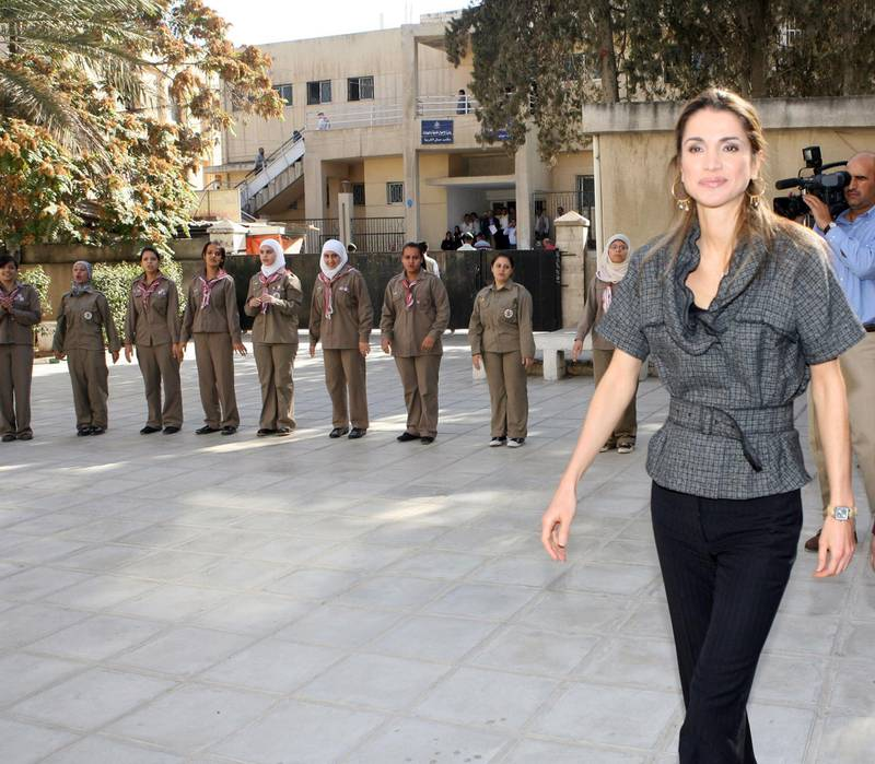 AMMAN, JORDAN- OCTOBER 31: Queen Rania of Jordan tours an official school after taking part in a youth forum organized by the United Nations Foundation and UNICEF on October 31, 2007, in Amman, Jordan. (Photo by Salah Malkawi/ Getty Images)