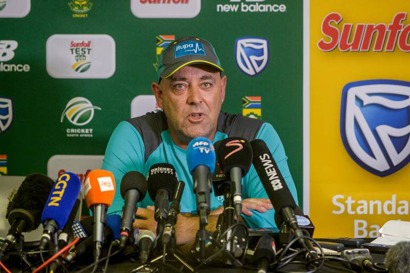 JOHANNESBURG, SOUTH AFRICA - MARCH 29: Coach Darren Lehmann of Australia resigns as Australia's national cricket team coach during the Australia national mens cricket team training session at Bidvest Wanderers Stadium on March 29, 2018 in Johannesburg, South Africa. (Photo by Sydney Seshibedi/Gallo Images/Getty Images)