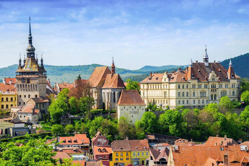 Panoramic view over the cityscape architecture in Sighisoara town, Romania