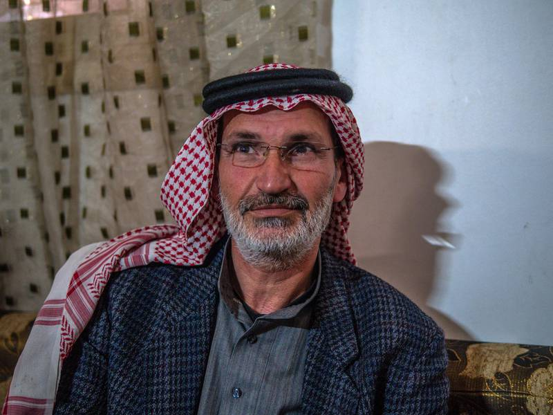 Sheikh Abdul Latif Al Faraj, a tribal leader in rural Raqqa sponsored 10 families for release from Al Hol, though he says pressure from the community means he won't sponsor any more. Luke Pierce for The National
