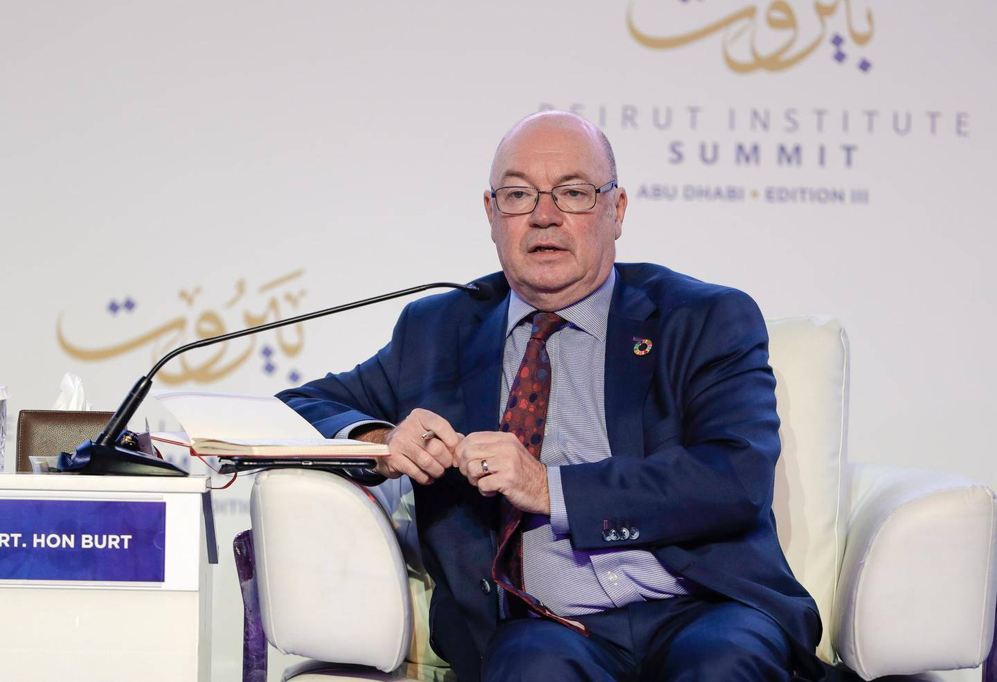 Abu Dhabi, United Arab Emirates, October 14, 2019.   Beirut Institute Summit at The St. Regis Abu Dhabi - Corniche. --     Will Europe Wither or Will it Weather the Gathering Storms?--The Rt Hon Alistair Burt, Former Minister of State for the Middle East at the Foreign and Commonwealth OfficeVictor Besa / The NationalSection:  NAReporter:  Dan Sanderson