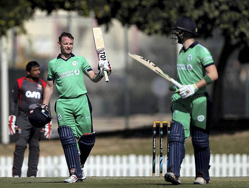 Dubai, Jan, 13, 2018: William Porterfield of Ireland raises his bat after scoring a century  against UAE in the second one day international match  at the ICC Academy grounds in Dubai. Satish Kumar for the National / Story by Paul Radley