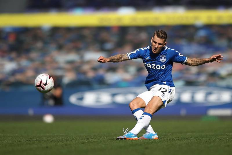 LIVERPOOL, ENGLAND - SEPTEMBER 19: Lucas Digne of Everton in action during the Premier League match between Everton and West Bromwich Albion at Goodison Park on September 19, 2020 in Liverpool, England. (Photo by Nick Potts - Pool/Getty Images)