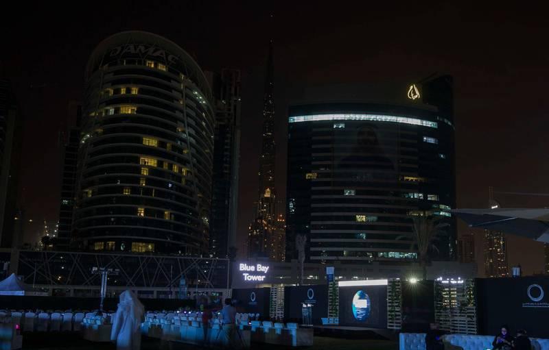 DUBAI, UNITED ARAB EMIRATES - Burj Khalifa during Earth Hour at the DEWA, Earth Hour at Mirasi Promenade, Dubai.  Leslie Pableo for The National
