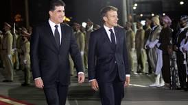 Emmanuel Macron arrives in Erbil after attending conference in Baghdad