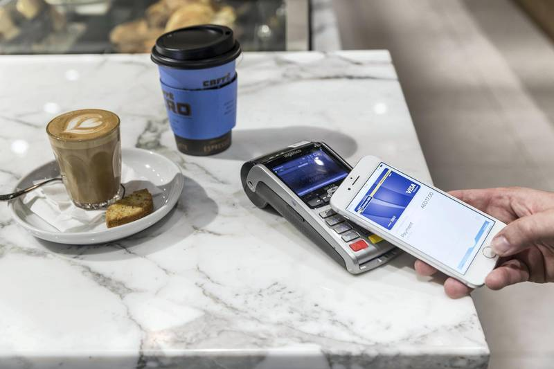 DUBAI, UNITED ARAB EMIRATES. 24 October 2017. Apple Pay launched in the UAE. Used to pay for take away at Cafe Nero in Dubai Mall. (Photo: Antonie Robertson/The National) Journalist: Caline Malek. Section: National.
