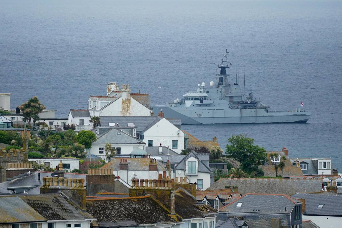 The British Royal Navy patrols Carbis Bay in St. Ives, Cornwall, England, Thursday, June 10, 2021. Security in the area is being tightened ahead of the upcoming G7 meeting taking place in Carbis Bay. G7 leaders and guests will meet in the the Cornish resort starting Friday, June 11, 2021. (AP Photo/Jon Super)