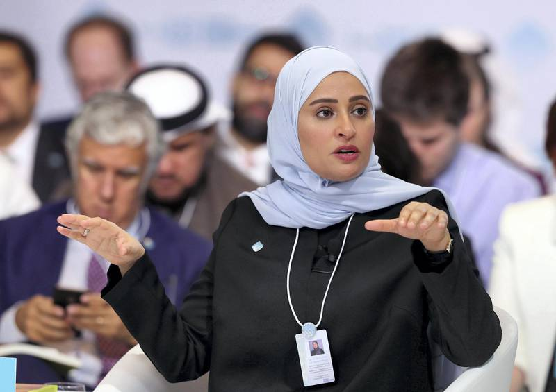 Dubai, United Arab Emirates - February 10, 2019: H.E. Ohood Al Roumi, Minister of State for Happiness and Wellbeing & Vice Chairman of the World Government Summit speaks about Launching the Global Happiness and Wellbeing Policy Report during day 1 at the World Government Summit. Sunday the 10th of February 2019 at Madinat, Dubai. Chris Whiteoak / The National