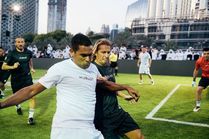 15.04.18  Match of Friendship - Pele XI vs. a Marcello Lippi XI. Serginho and M. Salgado. Dubai Opera Garden, Dubai Opera, downtown Anna Nielsen For The National