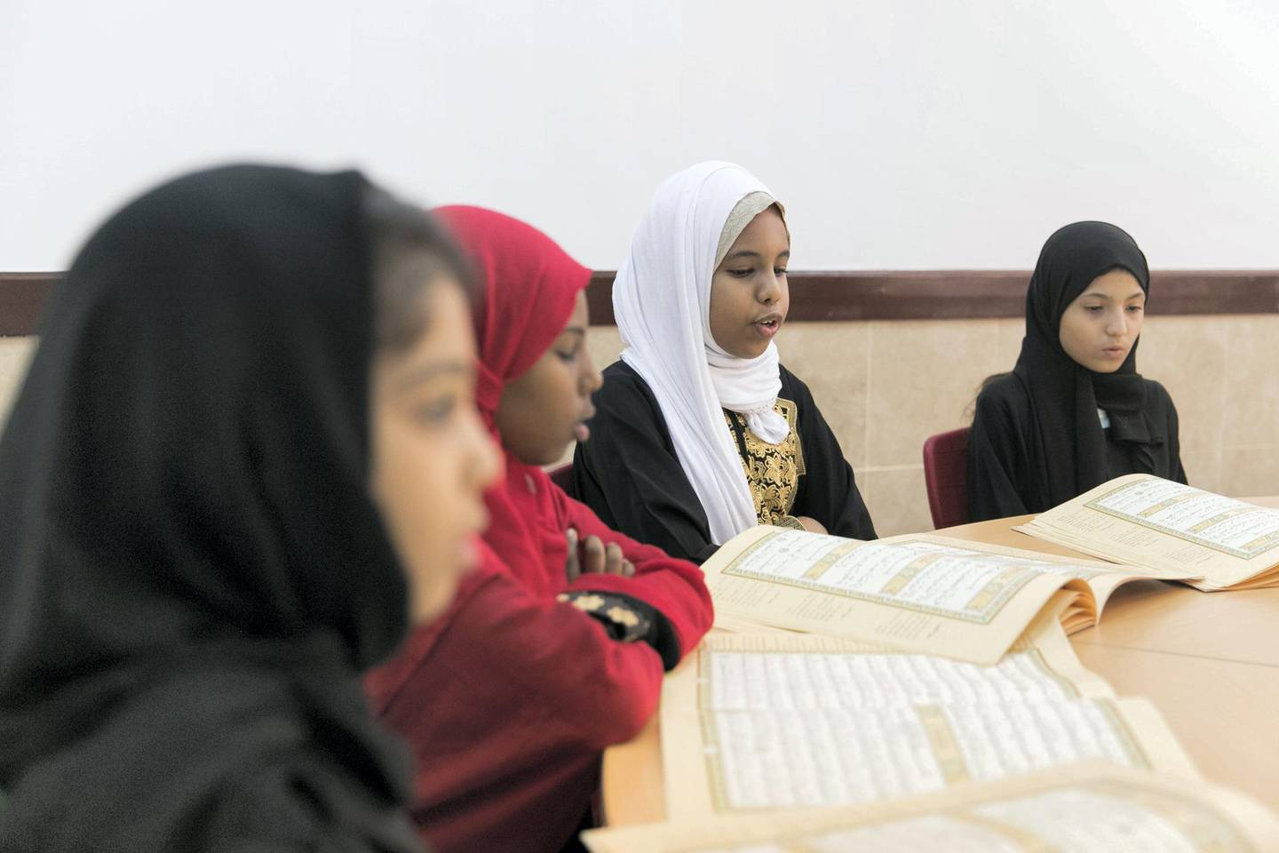 ABU DHABI, UNITED ARAB EMIRATES - AUGUST 8, 2018. Summer Quran class at Al Bateen Centre For Quran Memorization.(Photo by Reem Mohammed/The National)Reporter: Haneen DajaniSection:  NA