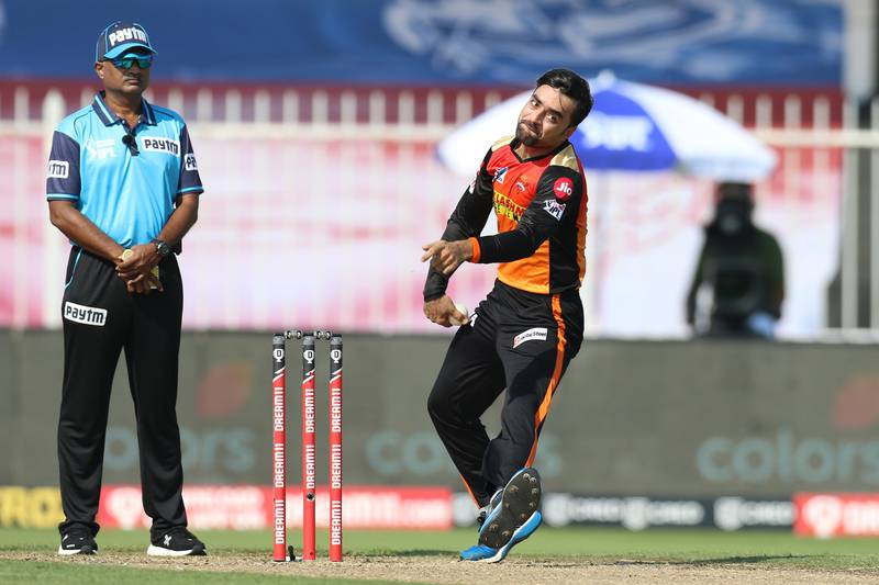 Rashid Khan of Sunrisers Hyderabad bowls during match 17 of season 13 of the Dream 11 Indian Premier League (IPL) between the Mumbai Indians and the Sunrisers Hyderabad held at the Sharjah Cricket Stadium, Sharjah in the United Arab Emirates on the 4th October 2020. Photo by: Deepak Malik  / Sportzpics for BCCI