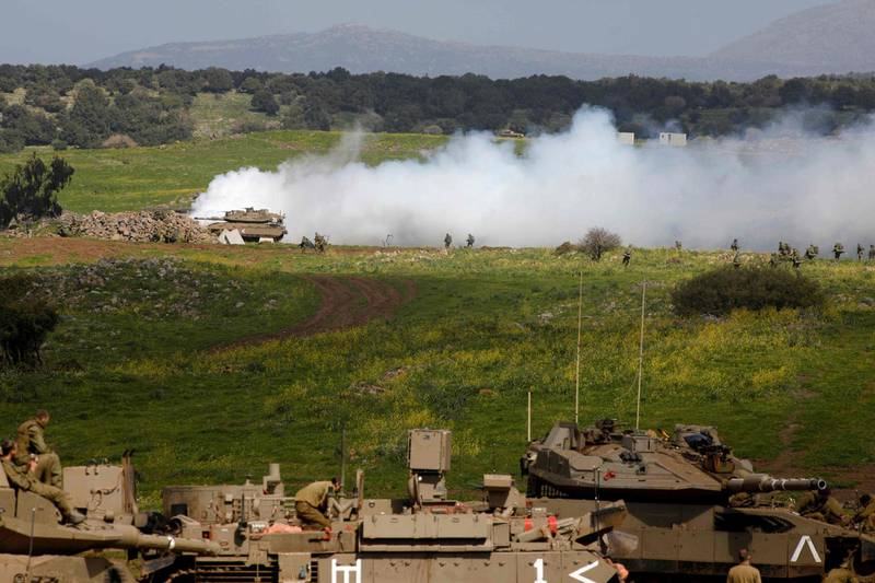 A picture shows an Israel military drill near Kibbutz Merom Golan in the Israeli-annexed Golan Heights on March 17, 2021. / AFP / JALAA MAREY