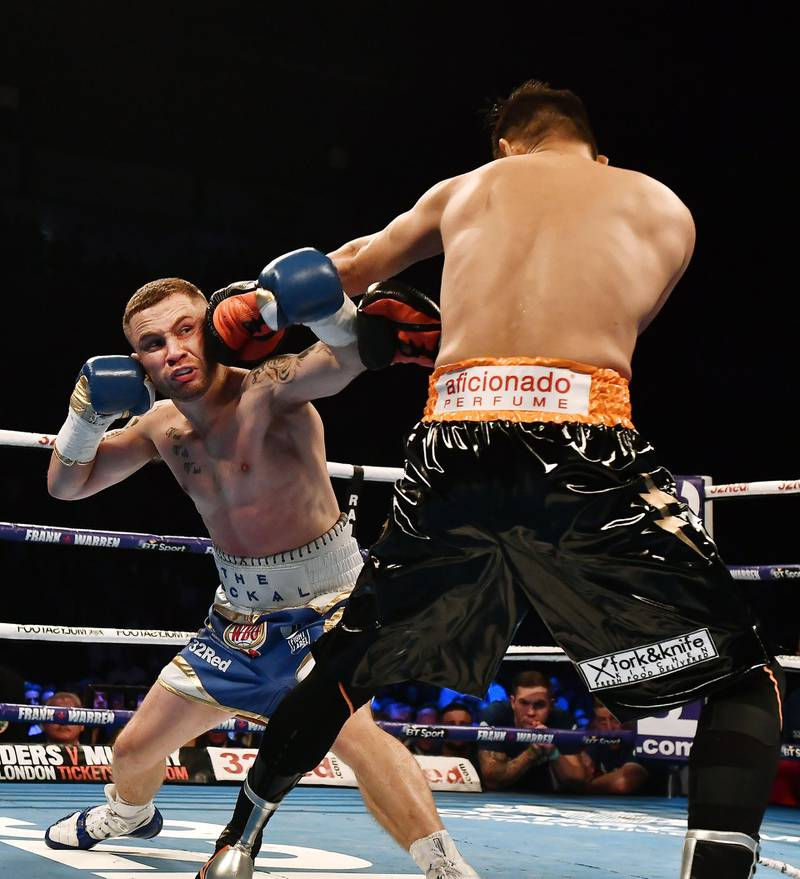 BELFAST, NORTHERN IRELAND - APRIL 21: Carl Frampton and Nonito Donaire during their WBO Interim World Featherweight championship bout at SSE Arena Belfast on April 21, 2018 in Belfast, Northern Ireland. (Photo by Charles McQuillan/Getty Images)