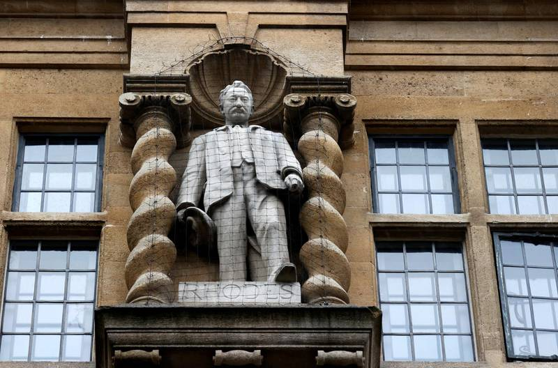 A statue of Cecil Rhodes, a controversial historical figure, is seen outside Oriel College, following demonstrations for it's removal in the aftermath of protests against the death of George Floyd, who died in police custody in Minneapolis, in Oxford, Britain, June 18, 2020. REUTERS/Eddie Keogh