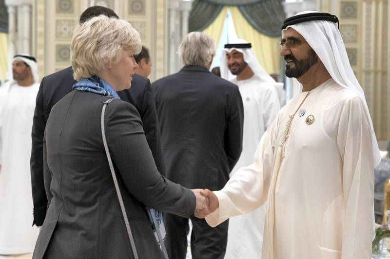 ABU DHABI, UNITED ARAB EMIRATES - May 20, 2018: HH Sheikh Mohamed bin Rashid Al Maktoum, Vice-President, Prime Minister of the UAE, Ruler of Dubai and Minister of Defence (R) receives a foreign Ambassador during an iftar reception at the Presidential Palace.  ( Mohamed Al Hammadi / Crown Prince Court - Abu Dhabi ) ---