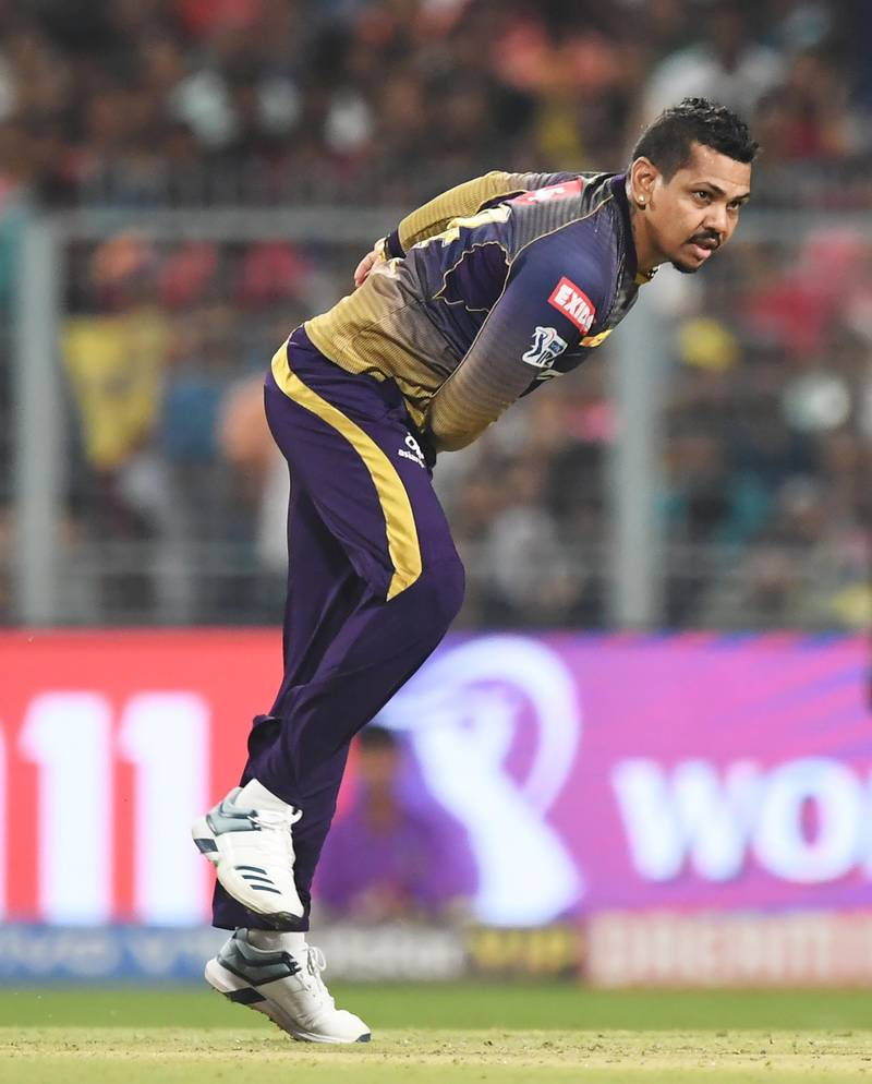 Kolkata Knight Riders's cricketer Sunil Narine bowls during the 2019 Indian Premier League (IPL) Twenty 20 cricket match between Kolkata Knight Riders and Rajasthan Royals at the Eden Gardens Cricket Stadium, in Kolkata, on April 25, 2019. (Photo by DIBYANGSHU SARKAR / AFP) / IMAGE RESTRICTED TO EDITORIAL USE - STRICTLY NO COMMERCIAL USE