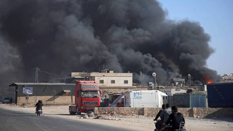 An image that illustrates this article Commercial centre of Syria's Idlib province comes under regime attack